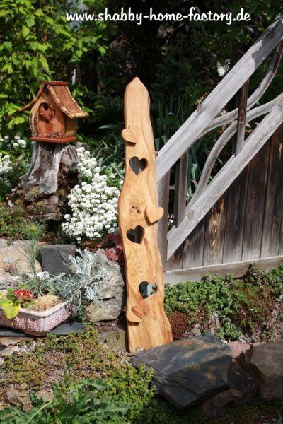 Willkommenschild Eingangsschild Holz Deko massiv Eiche Gartendeko