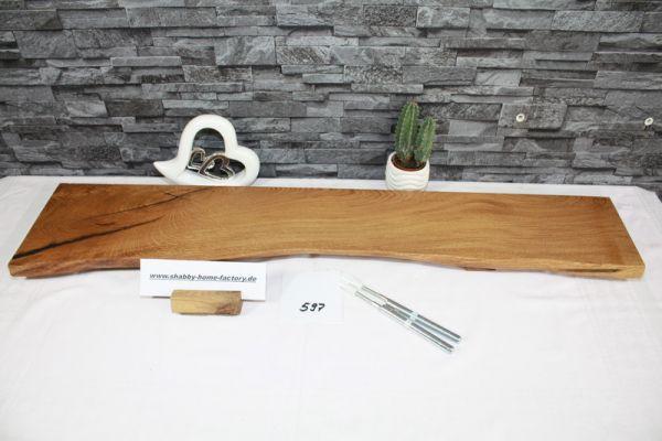 Wandboard Eiche 97 cm massiv geölt mit Baumkante