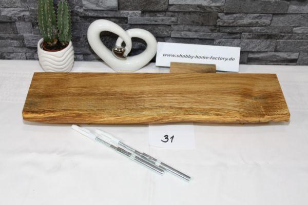 Wandboard Eiche massiv Baumkante 50 cm Wandbrett