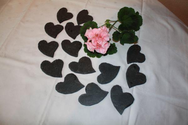 20 Schiefer Herzen 8 cm dunkelgrau geschwungene Form