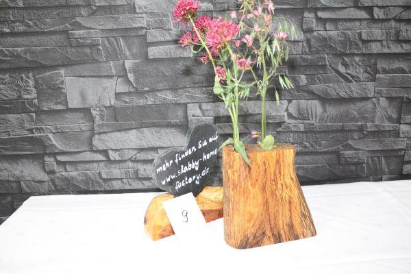 Vase aus gestockter Buche mit 2 Glaseinsätzen #9