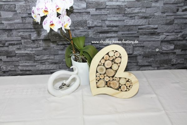 Holzherz, mit LED beleuchtetes, dekoratives, großes Holzherz