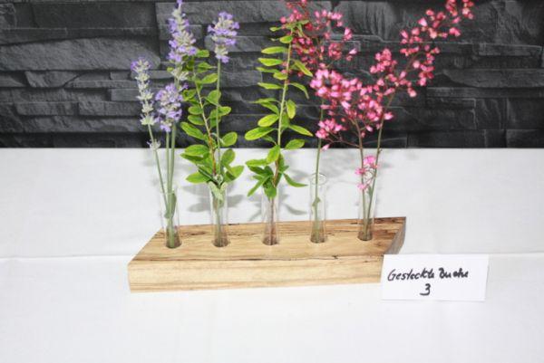 Holzvase mit 5 Reagenzgläsern Vase aus gestockter Buche