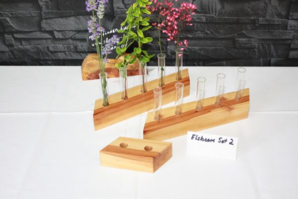 Holzvase Vasenset aus Eisbeerenholz 3 teilig
