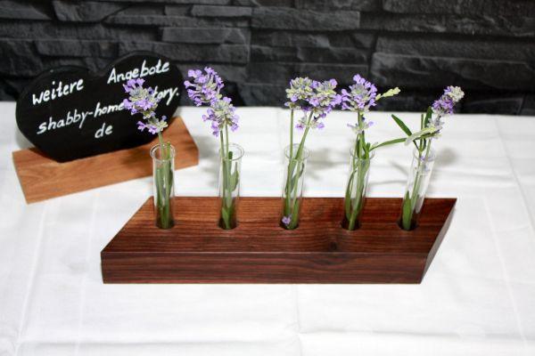 Holzvase Vase aus Nußbaum mit Reagenzgläsern