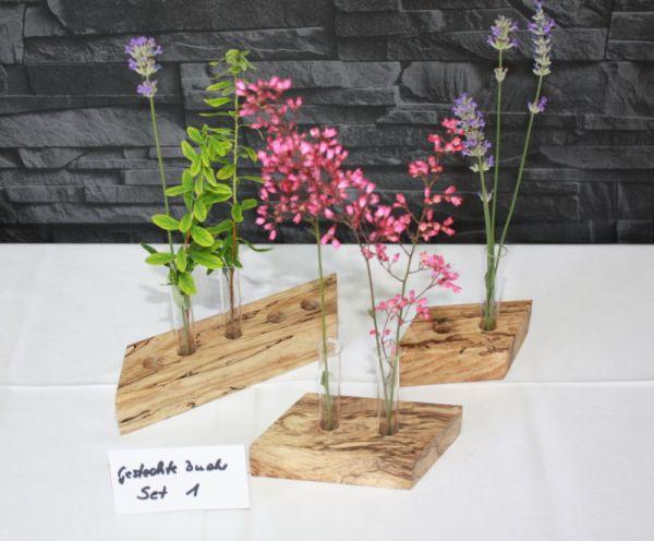 Holzvasen Set Vase aus gestockter Buche