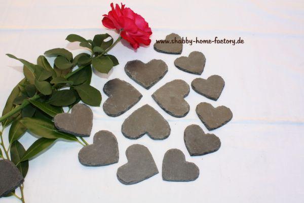 100 Schiefer Herzen Tischkarten 7 cm dunkelgrau