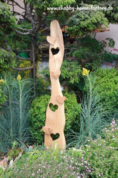Willkommenschild Holz Deko massiv Eiche Gartendeko Eingangsschild