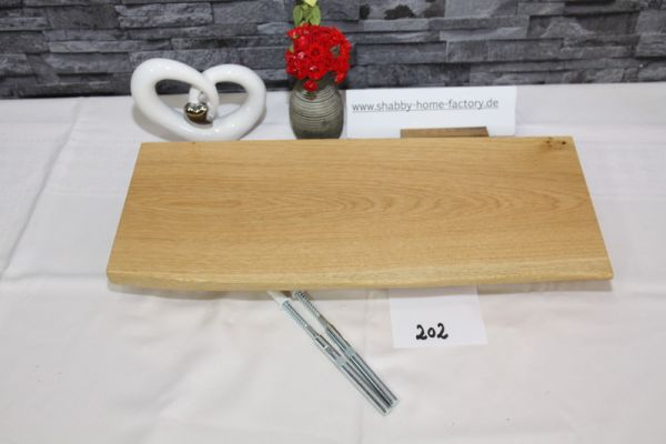 Wandboard 48 cm Eiche massiv Baumkante geölt