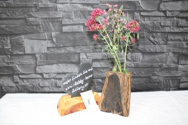 Vase aus gestockter Buche mit 2 Glaseinsätzen #8